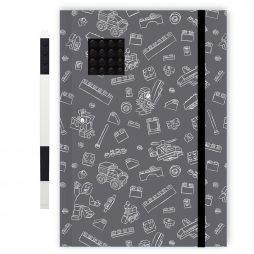 LEGO dnevnik crni sa 4x4 kockicom i crnom gel hem. olovkom
